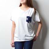 2017 S/S Ladies Fleece Star Pattern Pocket Short Sleeve Shirt