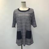 Block Check Studs Material Pocket Short Sleeve Tunic