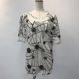 Floral Pattern Switching Short Sleeve Tunic