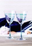 【ギフトやプレゼントに】ペアブルーラインワイングラス【BOX付】