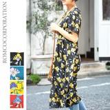 Floral Flower Short Sleeve Robe One-piece Dress