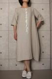 【2017人気商品】日本製 フレンチリネン アクセサリーレース付き五分袖ワンピース No817144