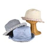 【春夏新作】ダンガリー×小花柄リバーシブルキャペリン レディース帽子