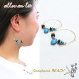 """【aller au lit】-Sunshine BEACH-""""ターコイズ""""うるっとしずく×エスニックフープピアス"""