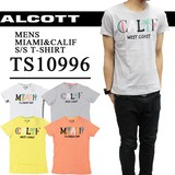 【激安!】◆お買い得春夏商材◆ALCOTT アルコット メンズ CALIF&MIAMIプリント Tシャツ