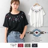 2017 S/S Native Embroidery Tuck Dolman T-shirt Dolman myke