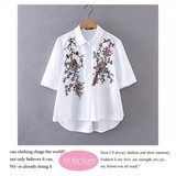 2017 S/S Botanical Embroidery Design Short Blouse