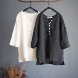 2017 S/S Material Stripe Design Pullover Blouse