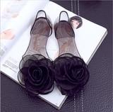 ファッション オシャレ  花の飾りミュール