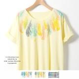 ◆2017春夏新作◆衿ぐりフェザープリントタックTシャツ/mitis/SS/ドルマン