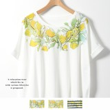 ◆2017春夏新作◆衿ぐりレモンプリントタックTシャツ/mitis/SS/ドルマン