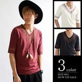ネイティブ刺繍七分袖VネックTシャツ