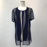 Ensemble Deformation Stripe Mesh Short Sleeve Tunic