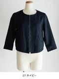 リネンライクノーカラー7分袖ジャケット