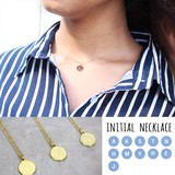 Initial Necklace Plate Necklace Coin Accessory Layard Gold