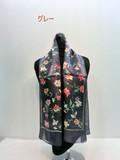2017秋冬新作)スカーフ シルクサテンストライプ・ストリームフラワー柄日本製ロングスカーフ
