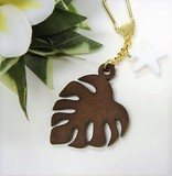 Hawaii Aroma Wood Grain Monstera Starfish Key Ring