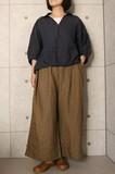 【2017春物新作】日本製 東炊きリネン抜き衿スキッパーブラウス  No8022