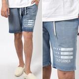2017 S/S Men's Cut Denim Stars And Stripes Print Shorts Shor Pants Half Pants Sweat