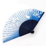Fashion Accessory Japanese Style Silk Folding Fan Sakura Blue