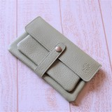 Genuine Leather Long Wallet Powdered Tea Present Color Wallet