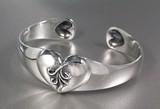 Silver 925 Heart Arabesque Silver Bangle