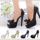 Ribbon Attached Lace Open Toe Pumps Sandal Party Casual