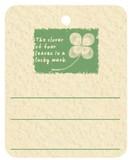 糸付提札(糸付値札) 四つ葉のクローバー
