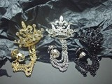Rhinestone Crown Big Stone Lapel Brooch