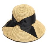 Ladies Wide Ribbon Paper Down Hat