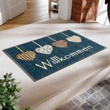 Doormat Heart Ornament Motif Scandinavian Style Mat Blue