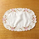 Rose Table Runner Oval Ivory