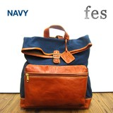fes Canvas Material Leather Backpack