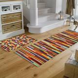 Entrance Kitchen Mat Colorful Dot Stripe Space Production
