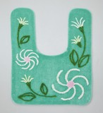 Toilet Mat Floral Pattern Green