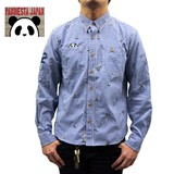 PANDIESTA JAPAN Monogram Panda Bear Gingham Check Shirt