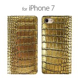 iPhone Case Genuine Leather Notebook Type Gold