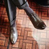 < London shoe make Oxford and Derby> 【牛革】マッケイ製法 メンズ 内羽根キャップトゥ 3001