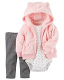 carter's Fluffy Hoody 3-unit Set Baby Pink