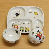 3-unit Set Rice Bowl Mug Plate Children Plates & Utensil