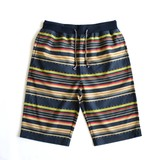 2017 S/S Cut Material Colorful Border Print Waist Shorts