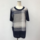 Japanese Style Checkered Switching Short Sleeve Tunic