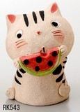 Ornament Interior Hiro-Toubou Cat Watermelon Mute Sea Bathing