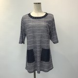 Block Check Studs Material Pocket Short Sleeve Tunic