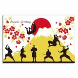 Silk Print Christmas Card Ninja Mt. Fuji