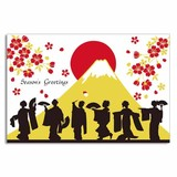 Silk Print Christmas Card Apprentice Geisha Mt. Fuji