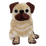 Pug Iron-on Embroidery Patch / for sewing, needlework and craft lovers
