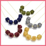 Metal Beads Flocky Cube Necklace