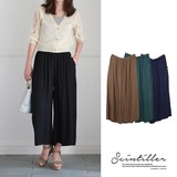 Late Summer Early Autumn Linen Basic wide pants