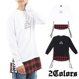 2017 A/W Jersey Stretch Switching Long Long Sleeve T-shirt Lace Checkered